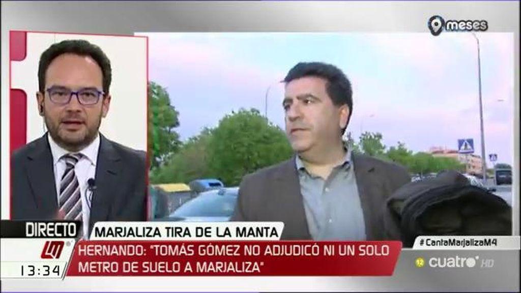 """Antonio Hernando: """"No hay ninguna acusación respecto a Tomás Gómez, está la palabra del tal Marjaliza"""""""