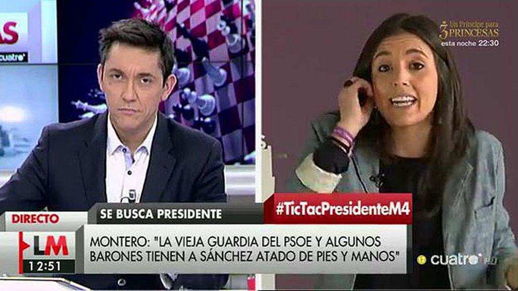 """Irene Montero: """"La vieja guardia del PSOE tiene a Pedro Sánchez atado de pies y manos"""""""