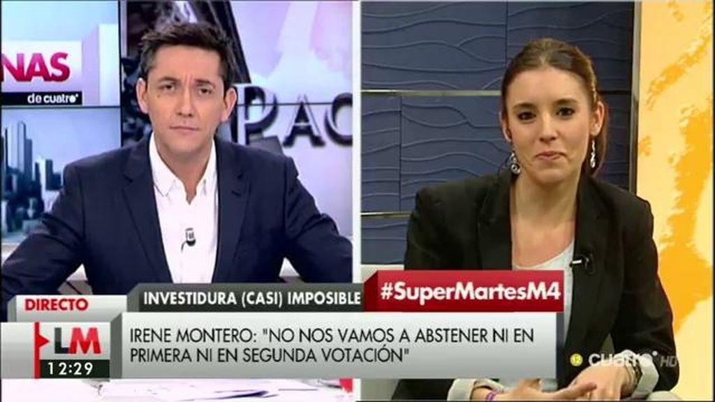 """I. Montero: """"Vamos a vivir una investidura fallida a no ser que el PP se abstenga"""""""