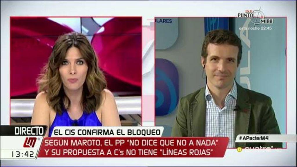 """Pablo Casado: """"Compartimos las líneas rojas esenciales con Ciudadanos"""""""