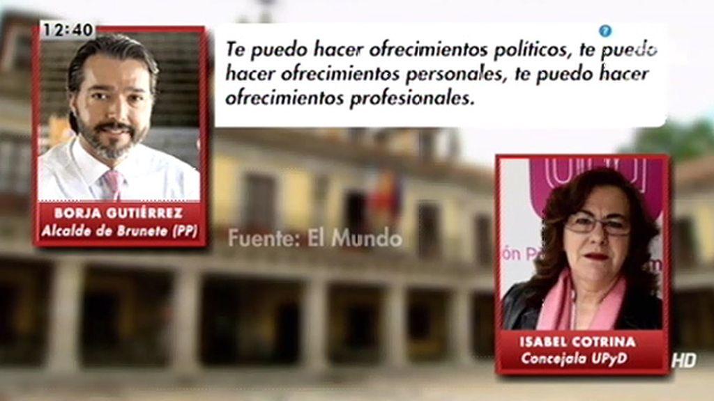 """El alcalde de Brunete, a una concejala de UPyD: """"Puedo hacerte ofrecimientos políticos"""""""