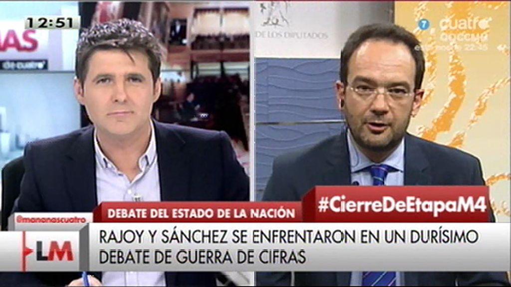 """Hernando cree """"injustificable"""" que Villalobos jugara durante la intervención de Rajoy"""