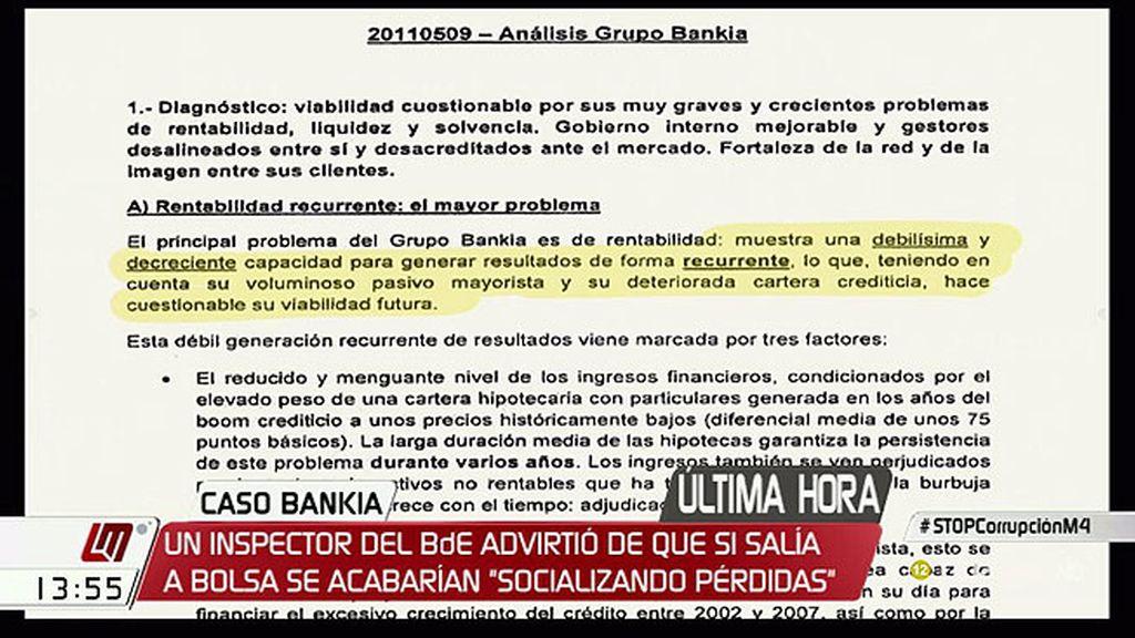 Se demuestra que el Banco de España sabía que la salida a bolsa de Bankia no era viable