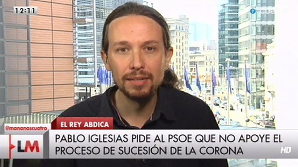 """Pablo Iglesias, sobre la abdicación: """"El Gobierno debería convocar un referéndum"""""""