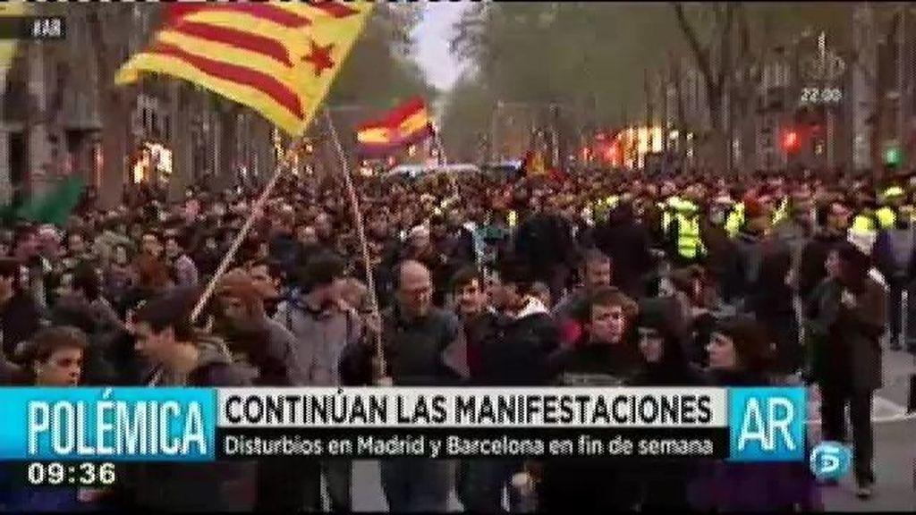 Disturbios en Barcelona durante la marcha de la desobediencia