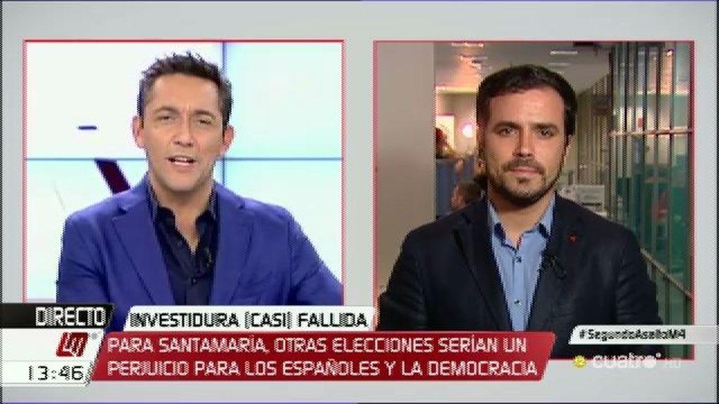 """Garzón: """"Si hay terceras eleeciones, IU y Podemos volverán a ir juntos"""""""