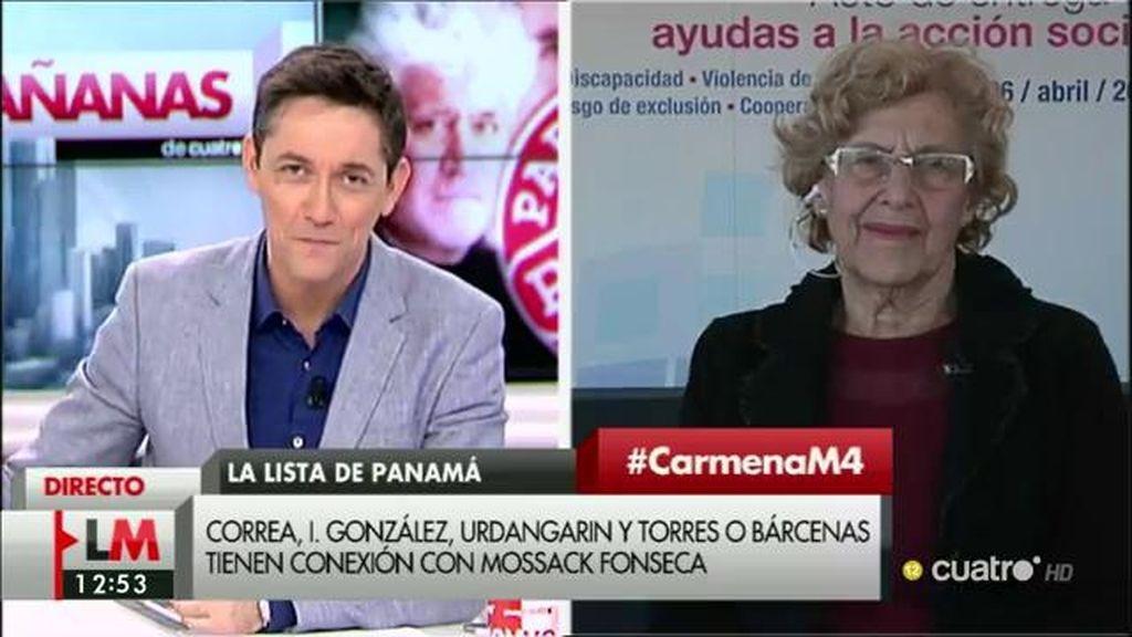 """Carmena, de los 'Papeles de Panamá': """"Es importante que haya regeneración y seamos conscientes de que así no se puede seguir"""""""