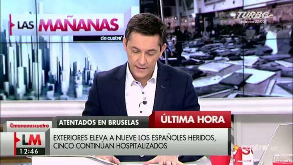 Exteriores eleva a 9 los españoles heridos en los atentados de Bruselas