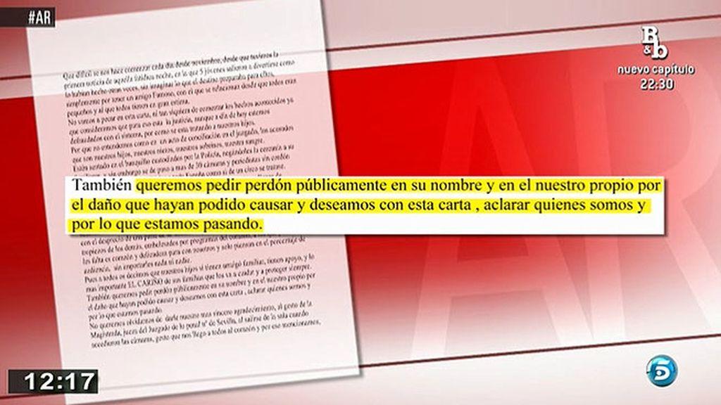 Los familiares de los amigos de José Fernando piden perdón a través de una carta