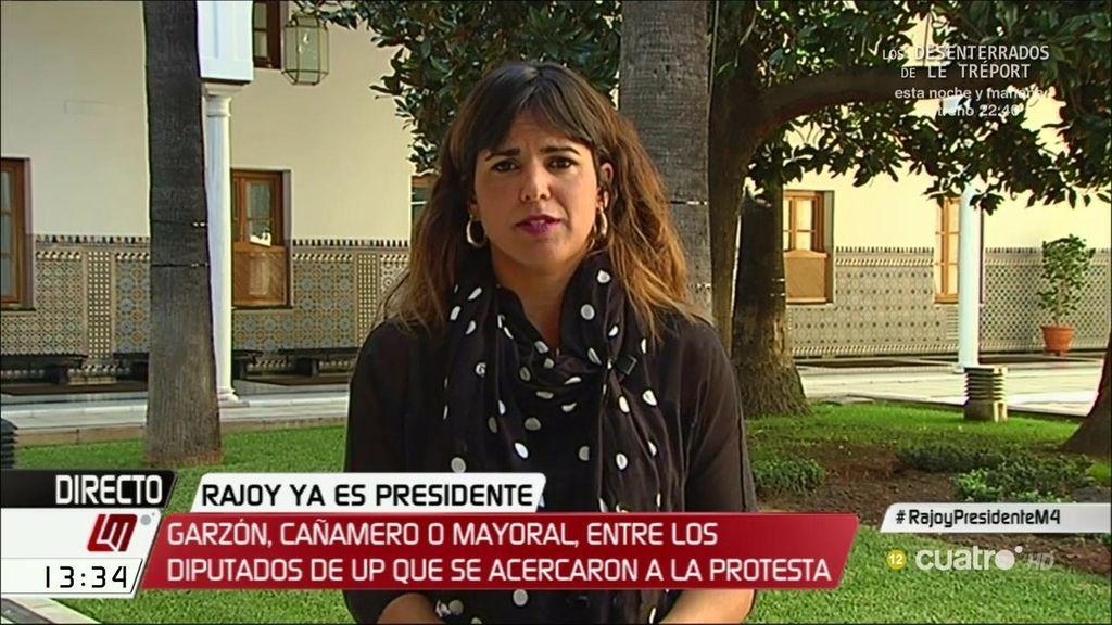 """Teresa Rodríguez: """"C's se lanzó a los brazos de Rajoy a la primera de cambio, ante eso es legítima la protesta"""""""