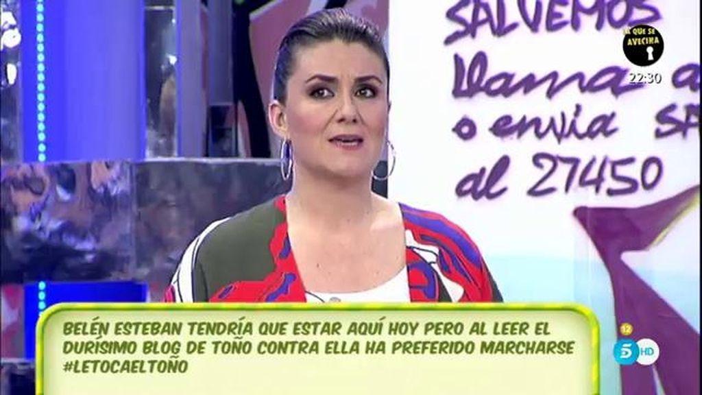 Belén Esteban, muy afectada por las palabras de Toño Sanchís