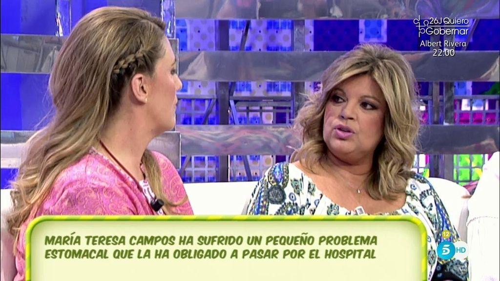 Terelu explica que Teresa Campos fue ingresada por un problema en la vesícula
