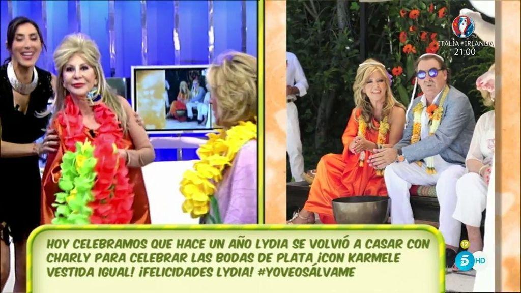 Karmele, de naranja y flores como Lydia Lozano en sus bodas de plata