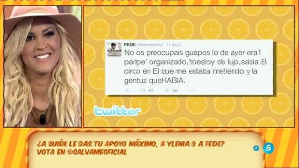 Los tuits de Fede después del cara a cara con Ylenia en el 'Deluxe'