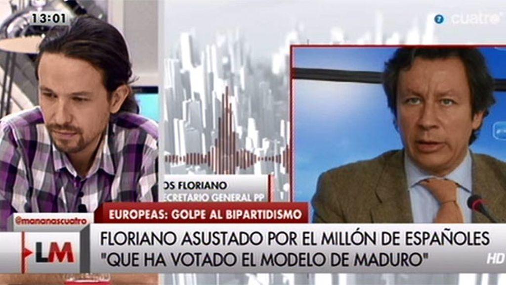 """Pablo Iglesias, a Floriano: """"Con la decencia, el sentido común y la ley echaremos a esta gente"""""""