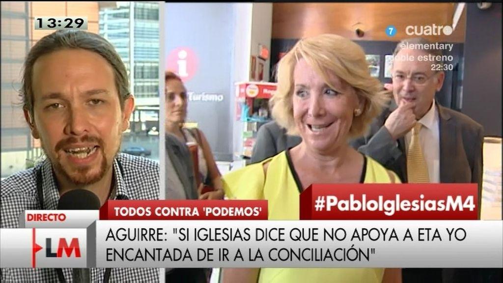 Pablo Iglesias responde a Isabel San Sebastián y Esperanza Aguirre