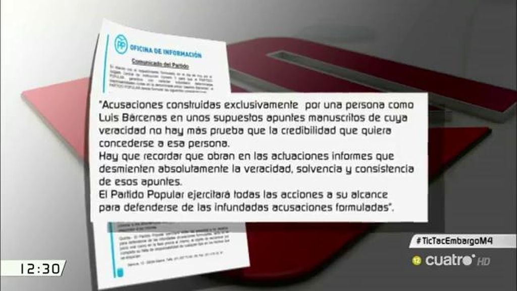 """""""El PP ejercitará todas las acciones a su alcance para defenderse de las infundadas acusaciones formuladas"""""""