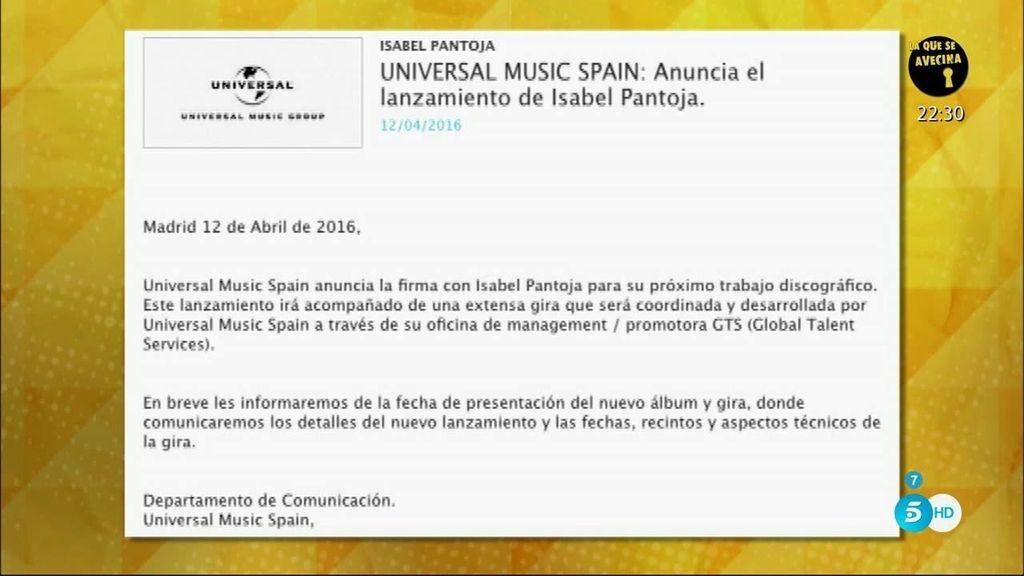 Isabel Pantoja ficha por Universal Music