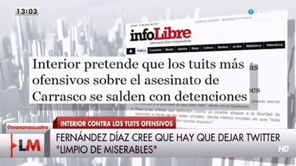 Interior pretende que los tuits más ofensivos sobre el asesinato de Carrasco se salden con detenciones, según 'InfoLibre'