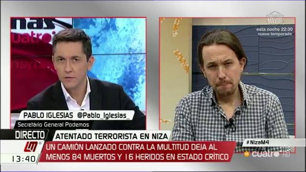 """Pablo Iglesias: """"Lo fundamental es no conceder estatus de beligerancia a los terroristas, son delincuentes"""""""