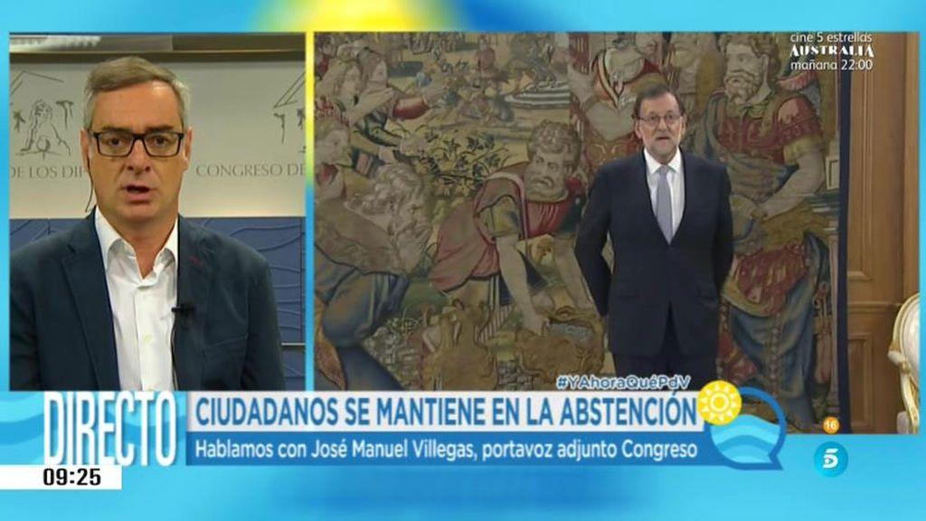 """Villegas: """"No hay ninguna posibilidad de que C's vote sí a la investidura"""""""