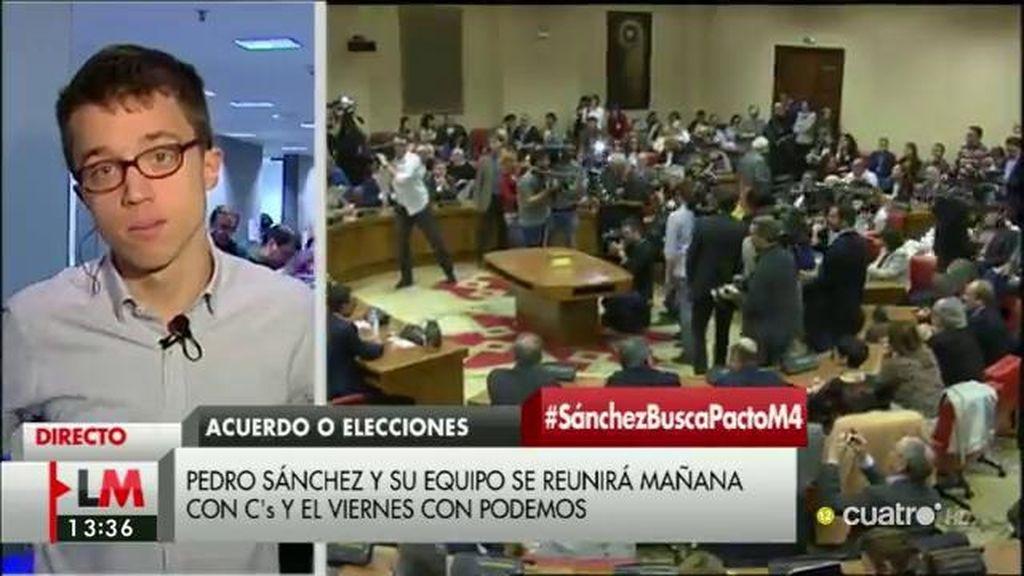"""Íñigo Errejón: """"No es bueno orientar la previa a las negociaciones como si fuera un duelo en el Far West entre pistoleros"""""""