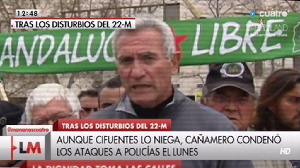 Cañamero y Ginés Fdz, dos de los organizadores del 22-M, condenaron la violencia