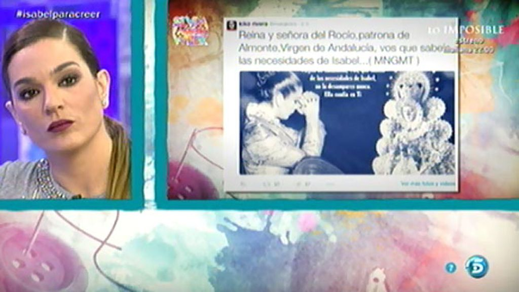 Kiko Rivera pide a la Virgen del Rocío que no desampare a su madre, en Twitter