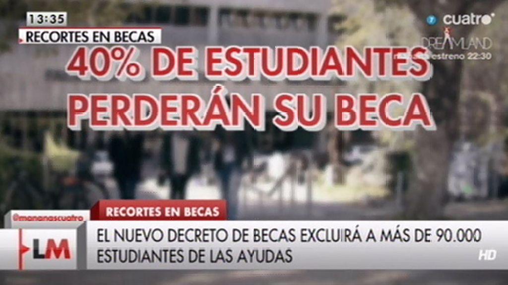 El 40% de los estudiantes que tenían una beca en el anterior curso la perderán