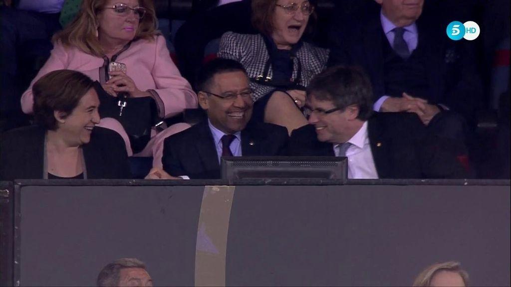 Así se vivió el gol del Barcelona en el palco ¡Gesto de Puigdemont a Ada Colau!
