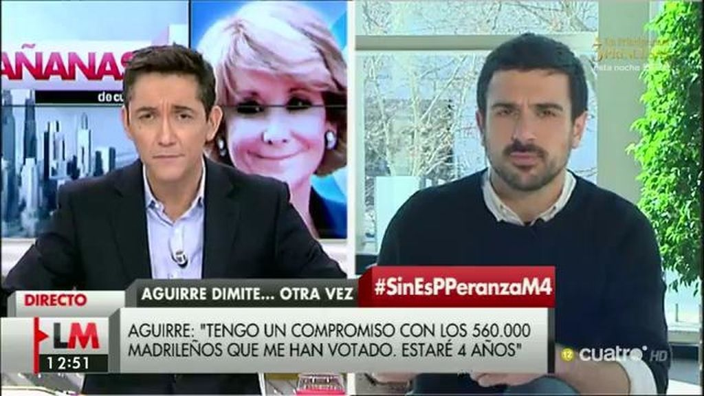 """Ramón Espinar: """"No se sostiene que Aguirre pueda seguir siendo concejala"""""""