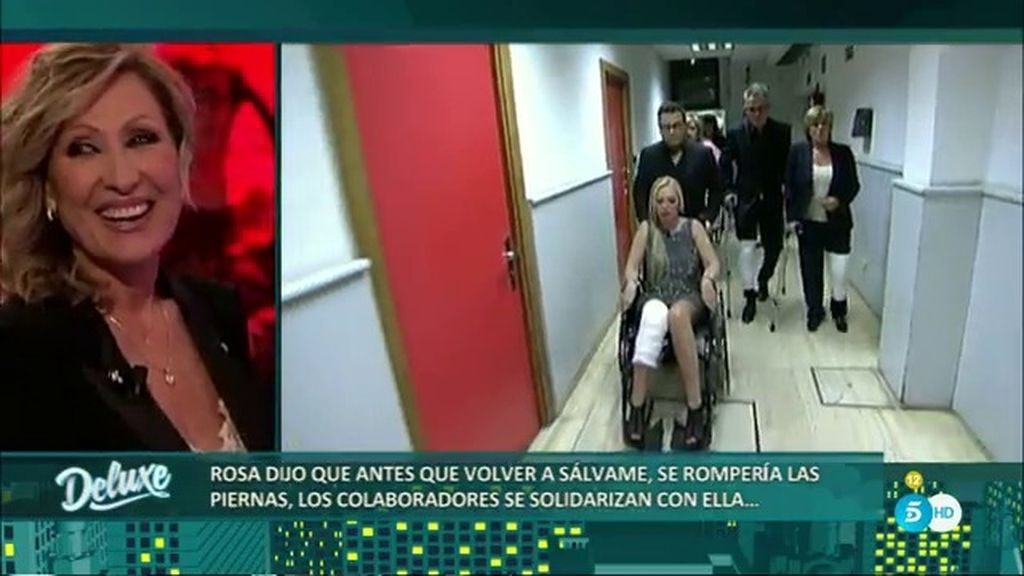 """Los colaboradores reciben a Rosa Benito con las piernas rotas: """"Los he echado de menos"""""""