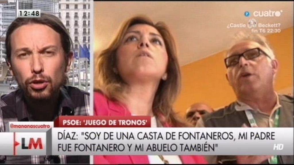 """Pablo Iglesias, a Susana Díaz: """"La casta no la define el origen de tu abuelo, sino el comportamiento de los políticos"""""""
