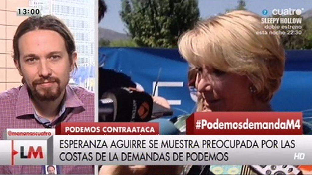 """Pablo Iglesias: """"La señora Aguirre tendrá que demostrar que no ha cometido ningún delito"""""""