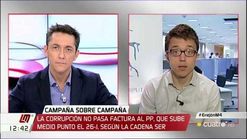 """Errejón: """"Creo que Rajoy tiene la mano quemada de tanto ponerla en el fuego"""""""