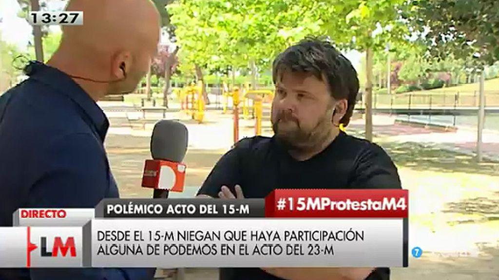 """Kike Castellón: """"El 15-M es y será un movimiento ciudadano, no hay ningún partido político detrás"""""""