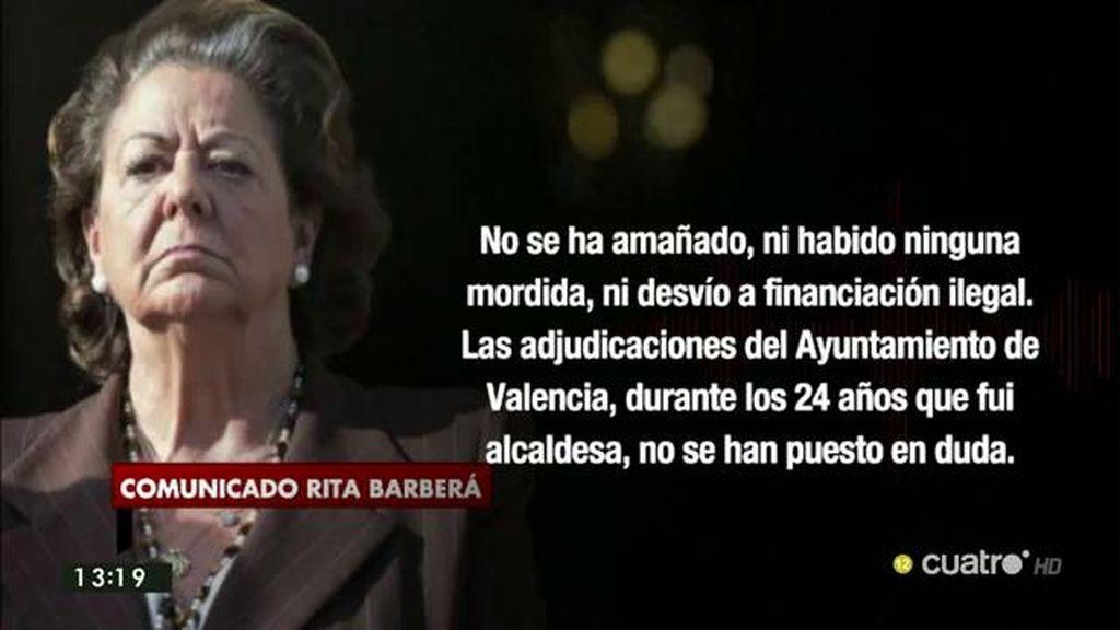 """Rita Barberá: """"Ante los juicios paralelos y condenas mediáticas pido mesura y respeto al Estado de derecho"""""""