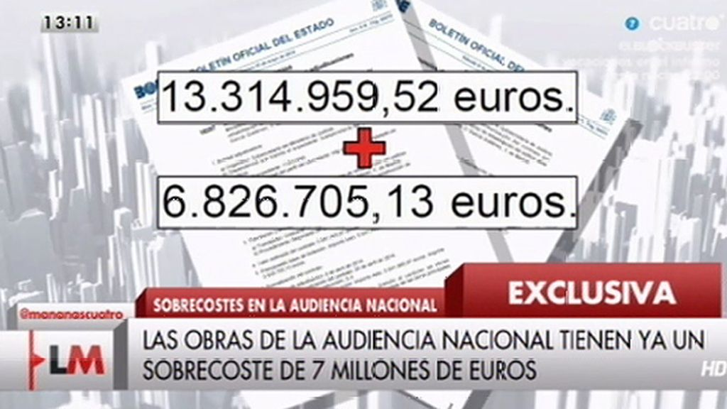 Las obras de la Audiencia Nacional tienen ya un sobrecoste de 7 millones de euros