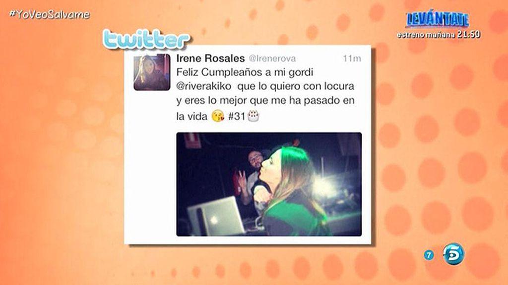 """Irene Rosales, a Kiko Rivera en Twitter: """"Felicidades, te quiero con locura"""""""