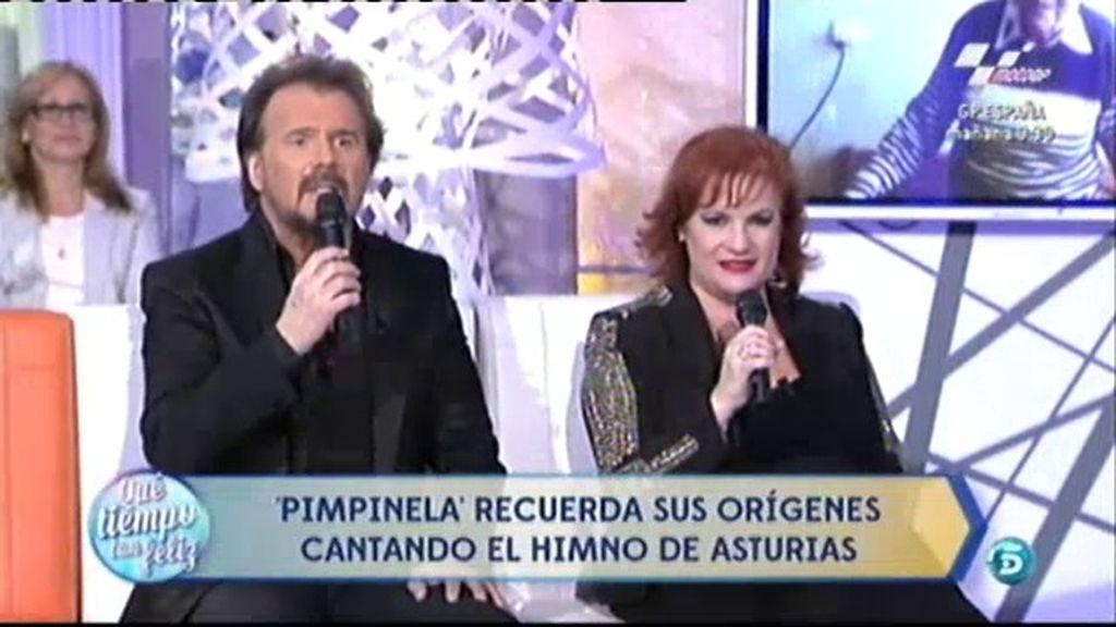 Pimpinela canta el himno de Asturias