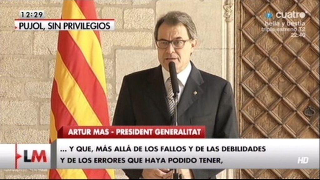 """Artur Mas: """"Pujol es mi padre político y el dolor es muy grande"""""""