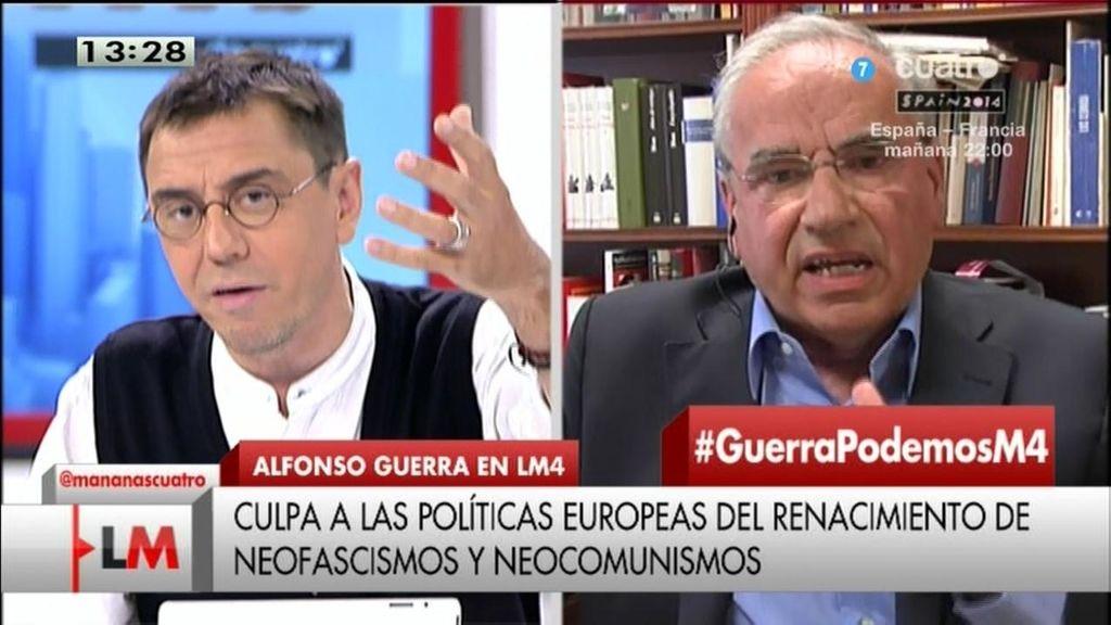 """Alfonso Guerra, a Monedero: """"Manipula la verdad y está obsesionado con el PSOE"""""""