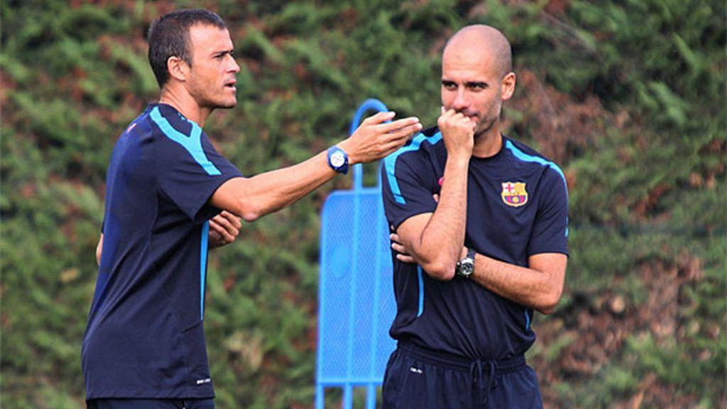 Los parecidos razonables de Guardiola y Luis Enrique en el banquillo del Barça