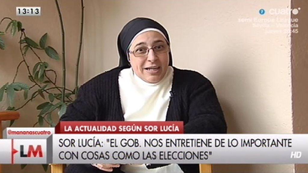 """Sor Lucía: """"El Gobierno está tirando a la gente a patadas de la sociedad del bienestar"""""""
