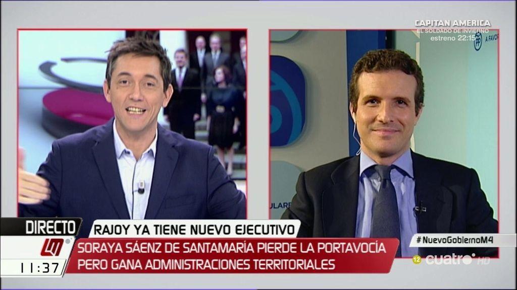 """Pablo Casado: """"El pacto con Ciudadanos ya está incorporando mejoras"""""""