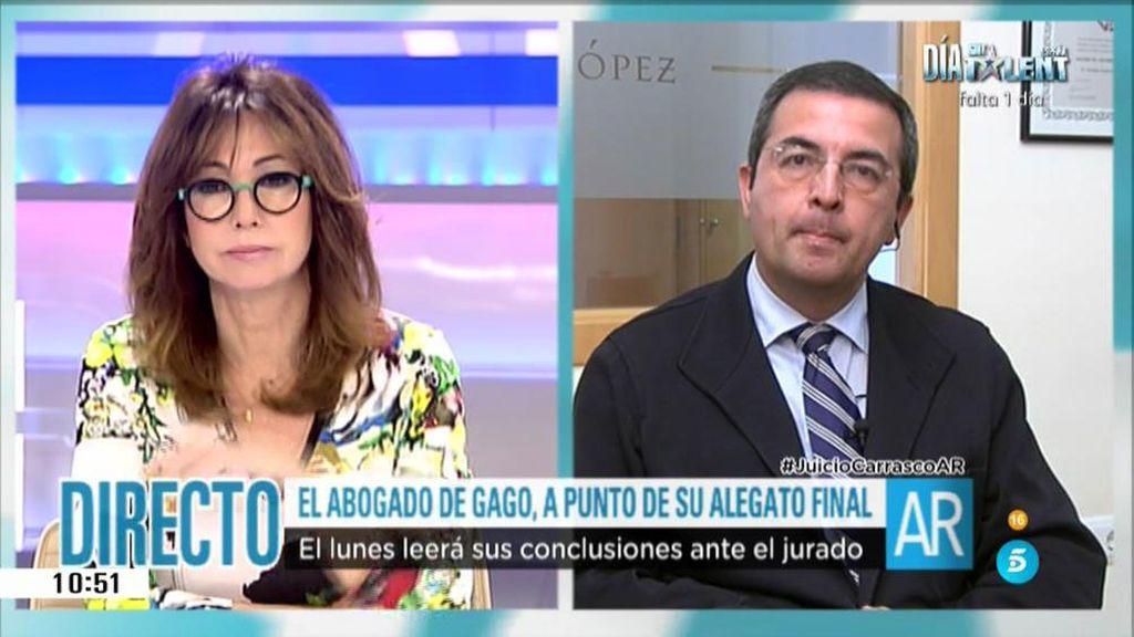 """Ana Rosa, al abogado de Raquel Gago: """"¿Cómo va lo suyo?"""""""