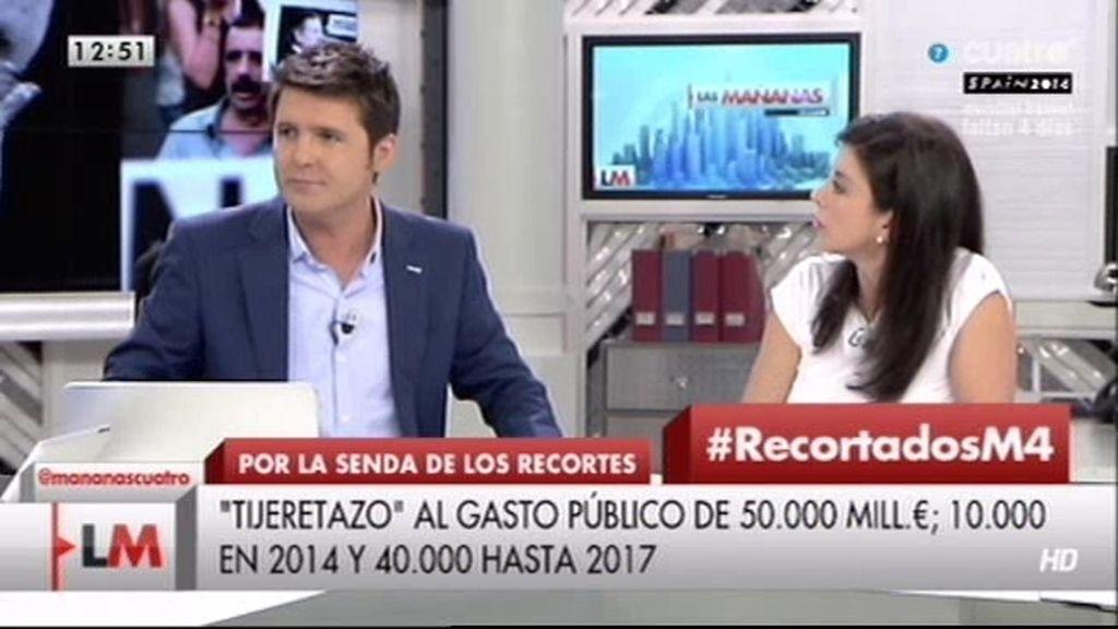 """Jesús Cintora, a Arenales Serrano (PP): """"Me duele que mienta con la prima de riesgo porque trabajan con dinero público"""""""