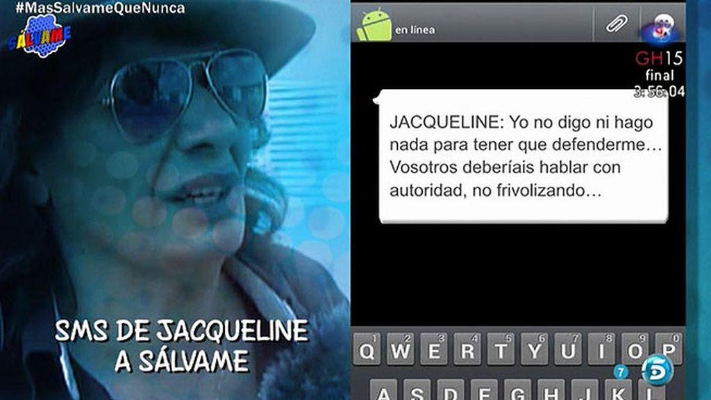 """El mensaje de Jacqueline a 'Sálvame': """"Todo lo que habláis es falso e inventado"""""""