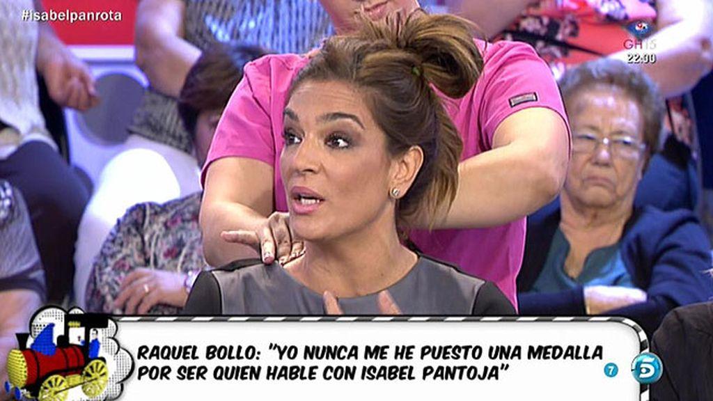 """Raquel: """"No me he puesto ninguna medalla por ser quien hable con Isabel Pantoja"""""""
