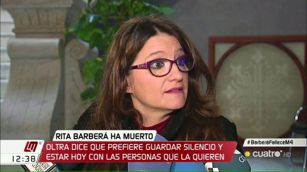 """Oltra: """"Es el momento de solidarizarse con los familiares y amigos de Rita Barberá"""""""